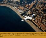 Archivio fotografico Piaggio Aerospace, il prototipo del velivolo Piaggio P.180 ripreso in volo su Finale Ligure e sui cantieri IAM Rinaldo Piaggio, sd. [1986].
